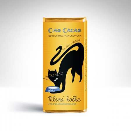 Čokoláda Mlsná kočka 72% mléčná bez cukru 50g